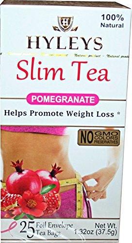 Hyleys 100% Natural Slim Tea Pomegranate Flavor 25 Foil Envelopes (4 PACK)
