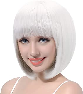 Updated White Short Bob Wig with Bangs-13