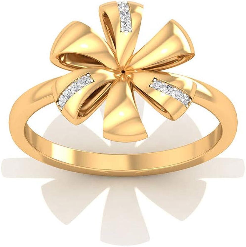 Solid 14k Gold Flower Wedding Anniversary Rings, Pave IGI Certified Diamond Flower Ribbon Wedding Rings, Minimal Bridal Promise Matching Rings for Her