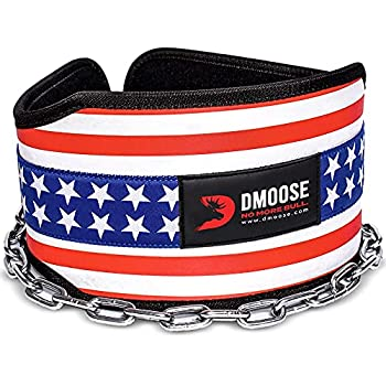 DMoose Fitness Dip Belt with Chain for Weightlifting Pullups Powerlifting and Bodybuilding Workouts Long Heavy Duty Steel Comfortable Neoprene Waist Support