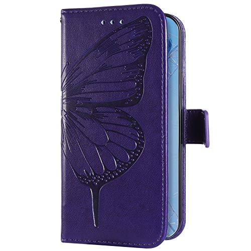 Uposao Kompatibel mit Samsung Galaxy A21S Hülle Schmetterling Leder Handyhülle Schutzhülle Flip Wallet Case Bookstyle Tasche Brieftasche Handytasche Klapphülle Magnet Kartenfach,Lila