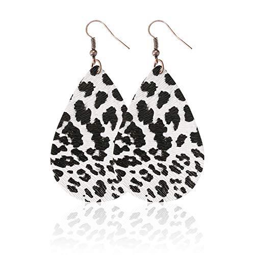 Pendientes Mujer Pendientes De Cuero De Lágrima con Estampado De Leopardo Floral Pendientes De Moda Hechos A Mano Enrejados-03