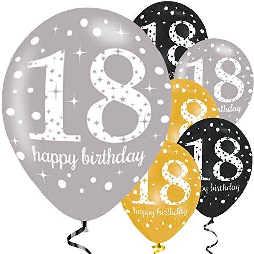 Feste Feiern Luftballon Set zum 18. Geburtstag, 18ter Geburtstag Deko Mann Frau, Gold Schwarz Silber metallic 6 Stück Zahlenballon 18 Happy Birthday Jubiläum
