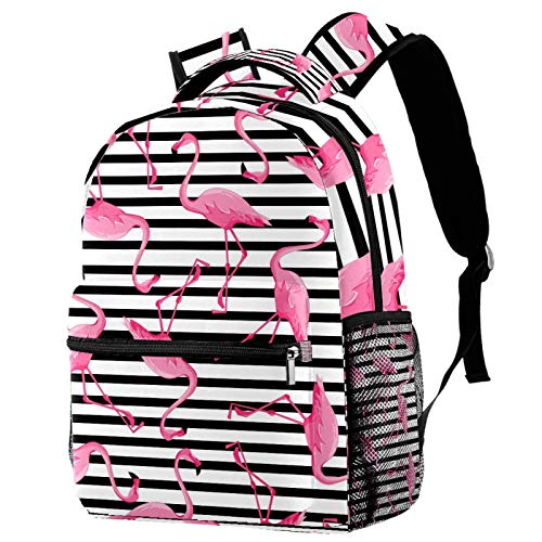 Backpacks for Adults Boys Girls Kids Durable Travel Business Bags Laptop Bags Daypack for School Outdoor Work Flamingo Black Stripes