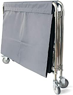 JCY Laundry Basket, Laundry Cart, Foldable, Stainless Steel Tube, Removable Bag, Clothes Storage Cart On Wheels (Color : Gray, Size : 90×60×88cm)
