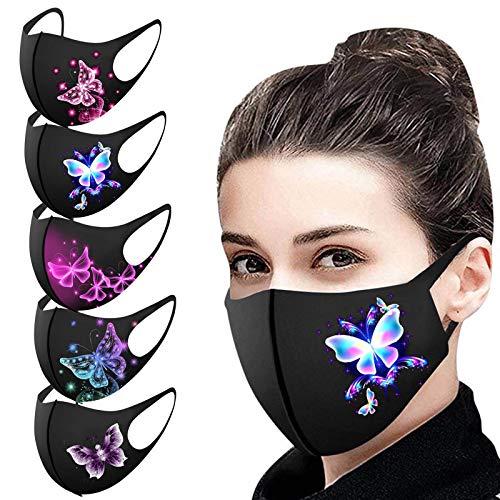 Aujelly 5 Stück Eisseide Schmetterling Mundschutz für Erwachsene Wiederverwendbar waschbar Staubdicht Atmungsaktiv Mund-Nasen Bedeckung Halstuch Schals B001 (Erwachsene, Eisseidenstoff-C)