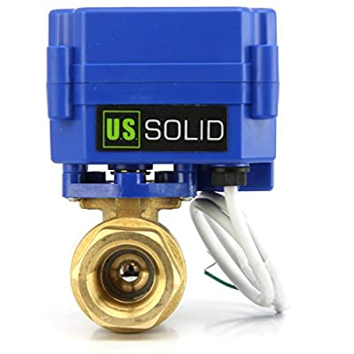 """Motorized Ball Valve- 1"""" Brass Ball Valve with Standard Port, 9-24V DC and 2 Wire Reverse Polarity by U.S. Solid from U.S. Solid"""