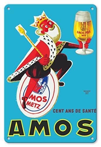 Pacifica Island Art - 22 x 30 cm Metallschild - Amos Pils Biere - Gambrinus, König des Bieres - Bierbrauerei Amos, Metz, Frankreich - Retro Werbeplakat von Raymond Gay c.1960