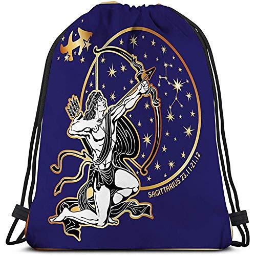 BOUIA mannen en vrouwen Sport Trekkoord Tas horoscoop sagittarius sterrenbeeld zodiak grafische retro stijl