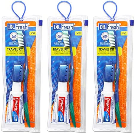 Toothbrush Travel Kits for Adults Teens Kids 3 Pack Travel Size Toiletries Includes Toothbrush product image