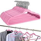 Amazon Brand - Umi Velvet Suit Hangers, Non-Slip, Heavy-Duty and Space-Saving, with Tie Bar, 360° Swivel Hooks, Notched Shoulders, Standard Hangers for Multi-Purpose - Pink, 50-Pack
