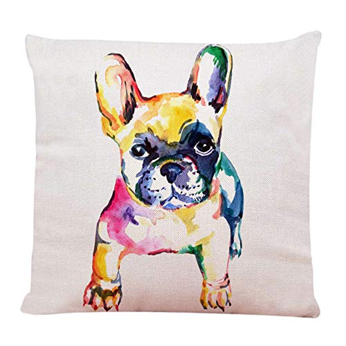 Ofocam Throw Pillow Cover Cute White Frenchie French Bulldog Original Watercolor of Dog Rainbow Hand Square Decorative Throw Pillow Cushion Case for Home Couch Car 18 x 18 Inches Pillowcase