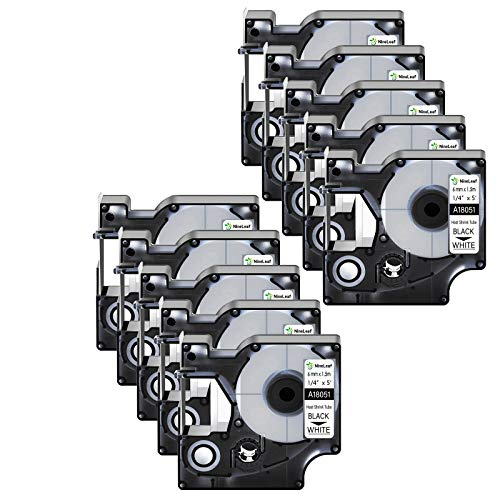 """Nineleaf 10 Pack Compatible for DYMO 18051 Rhino Heat Shrink Tube Industry Label Tape 6mm 1/4"""" x 5ft Black on White Wire Tapes for Industrial Rhino Pro 3000 4200 5000 5200 6000 3M Label Maker"""