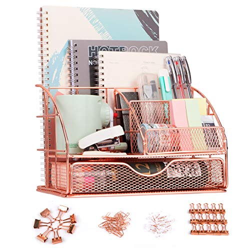 F-Jane Rose Gold Desk Organizer for WomenMesh Metal Multi-Functional Stationery Desk Supply Accessories for officeschoolhome