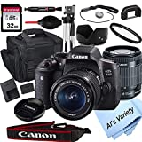 Canon EOS 750D (Rebel T6i) DSLR Camera with 18-55mm f/3.5-5.6 STM Zoom Lens + 32GB Card, Tripod, Case, and More (18pc Bundle)