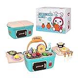 SSZZ Kinderküchen-Spielset Tragbares Picknickkorbspielzeug Mit Musiklichtern Rollenspielzubehör, Blau
