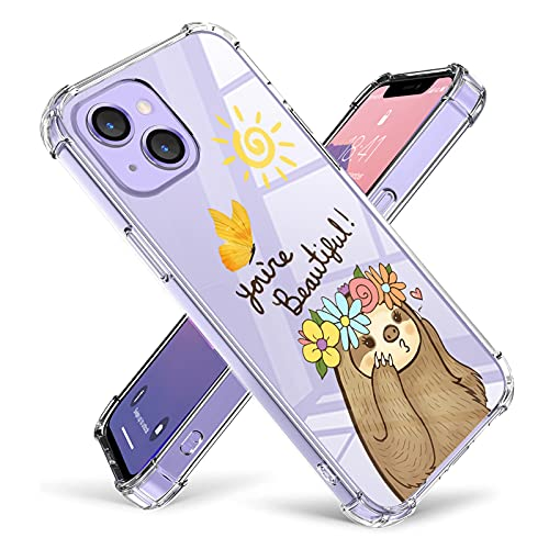 ZIYE Compatible iPhone 13 Clear Case Cute Sloth Cartoon Pattern Design with Camera Protector Shock Absorbing Corners Hard PC + Soft TPU Anti-Scratch Wireless Charging Case for Girls Boys