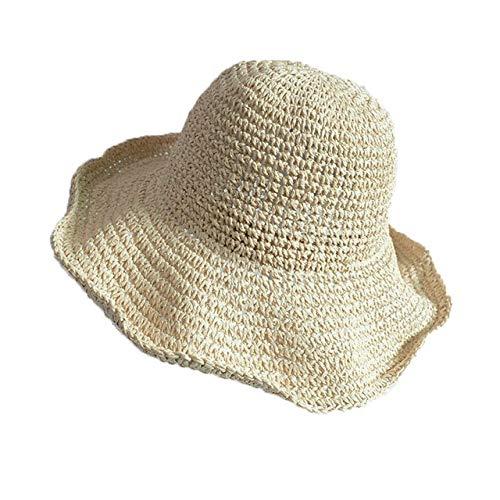 Mdsfe 2020 boog zonnehoed dames strandhoed brede rand rand kap zomerhoed panama stroh koepel emmer hoed k2827 beige-A2827