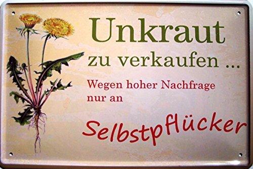 Unkraut zu verkaufen Blechschild Schild Blech Metall Metal Tin Sign 20 x 30 cm