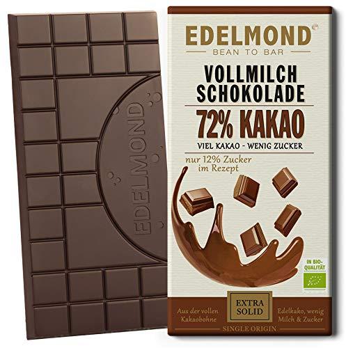 Edelmond 72% Milch-Schokolade Bio, dunkle Kakaobohnen und wenig Zucker. Single Plantation. Bitter + Fair-Trade als bestes Geschenk. (1 Tafel)