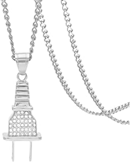 Hip Hop Rapper Plug Pendant Ice Out Crystal Necklace,24inches Link Chain