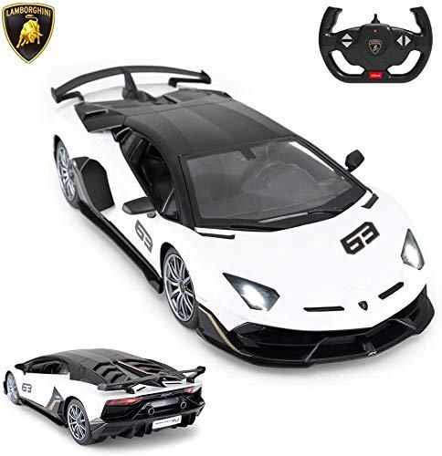 Toy Lamborghini Car | RASTAR 1:14 Lamborghini Aventador SVJ Remote Control Model Car, Super RC Sport Racing Car for Kids Boys Gifts, 2.4GHz / White