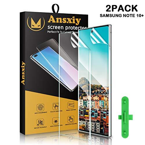 Galaxy Note 10 Plus panzerglas (2 stück), Galaxy Note 10 Plus Schutzfolie HD Ultra-klar, Blasenfrei, Fingerabdruck-ID Unterstützen, Weich TPU Displayschutzfolie für Samsung Galaxy Note 10 + 5G Folie