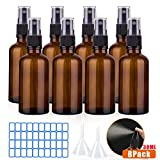 O-Kinee Spray de Vidrio ámbar 8 pcs Botella de Vidrio ámbar Vacía con Pulverizador Negro de Niebla Fina Vacía para Aromaterapia,Primeros Auxilios,Tamaño de Viaje,Líquidos Químicos (30ml)