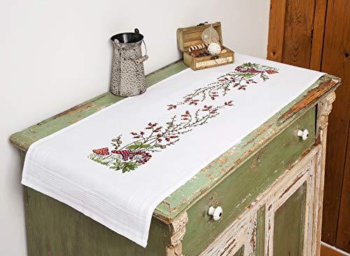 Kamaca Stickpackung Tischdecke FLIEGENPILZ Kreuzstich vorgezeichnet aus Baumwolle Stickset mit Stickvorlage (Tischläufer 40x100 cm)