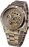 ZFAYFMA Reloj automático de Hombres, Correa de Cuero Hueca de dial, Moda Multifunción Casual de Moda Reloj mecánico automático, Reloj de Movimiento de Acero Inoxidable a PRU Local Gold