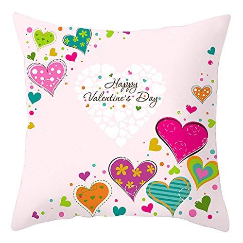 AtHomeShop 40 x 40 cm Fundas de cojín decorativas en poliéster con corazón Happy Valentine's Day, suave para sofá, dormitorio, oficina, coche, salón, decoración, color rosa, lila, azul, estilo 4