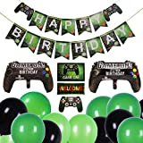 tiopeia 35 Stück Videospiel Party Zubehör Set, Happy Birthday Gaming Thema Partyzubehör, Geburtstag Party Favors mit Banner, Luftballons, Girlande für Jungen Geburtstagsfeier