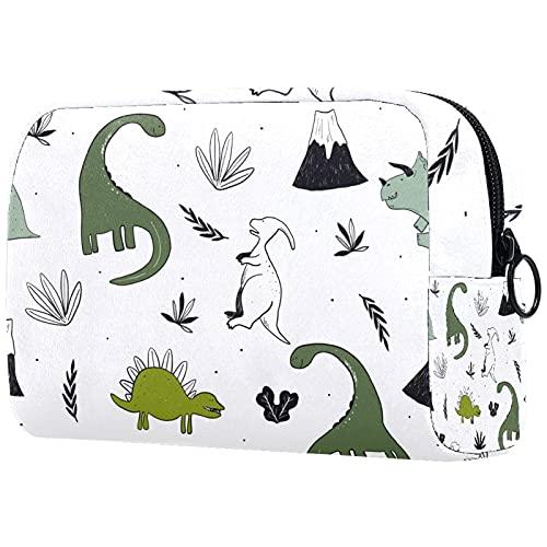 KAMEARI Bolsa de cosméticos Dibujado a mano Dinosaurio grande Bolsa de cosméticos Organizador Multifuncional Bolsas de viaje
