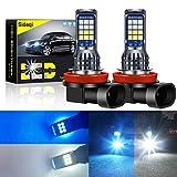 Sidaqi 2 piezas de doble color 7.2 W H8 / H11 bombillas de luz antiniebla LED brillantes para coche 2835 24 SMD para luz de circulación diurna DRL luces antiniebla 12V (blanco y azul hielo)