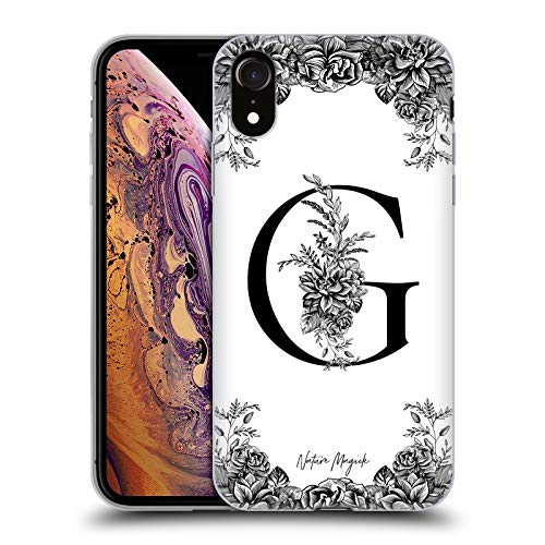 Head Case Designs Oficial Nature Magick Letra G B & W Floral Monograma 1 Carcasa de Gel de Silicona Compatible con Apple iPhone XR