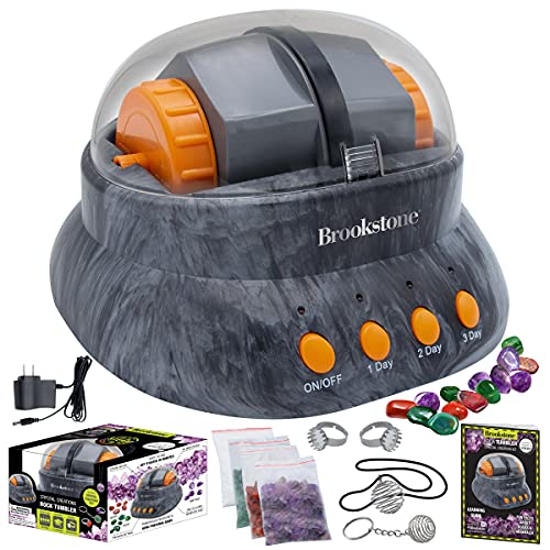 Brookstone Rock Tumbler and Crystal Creation Kit for Kids with Rocks & Jewelry Making Supplies...