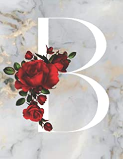 B: Monogram Initial B: Notebook for Women, Girls and School, Marble Floral 8.5 x 11, 120 Pages (60 Sheets) Excellent Gift ...