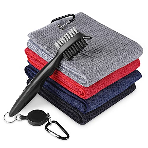 Zacro Golf Towels Set- Pack of 4 Microfiber Waffle Pattern Golf Towels with Clip, 1 Golf Club Brush with Retractable Zip-line Aluminum Carabiner for Golfers