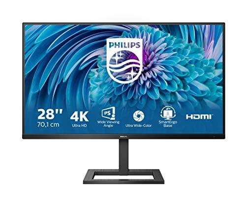 Philips 288E2UAE - Monitor UHD da 28 , regolabile in altezza (3840 x 2160, 60 Hz, HDMI 2.0, DisplayPort, hub USB), colore: Nero