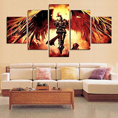 HIMFL Modular Segeltuch Wandkunst Bilder 5 Panel Richter Engel Gemälde Wohnzimmer Gedruckt Plakate Zuhause Dekor,A,20×35×2+20×45×2+20×55×1
