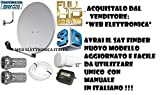KIT SATELLITE COMPLETO:PARABOLA 80 CM+STAFFA+LNB+FINDER+CAVO+SPINOTTI...