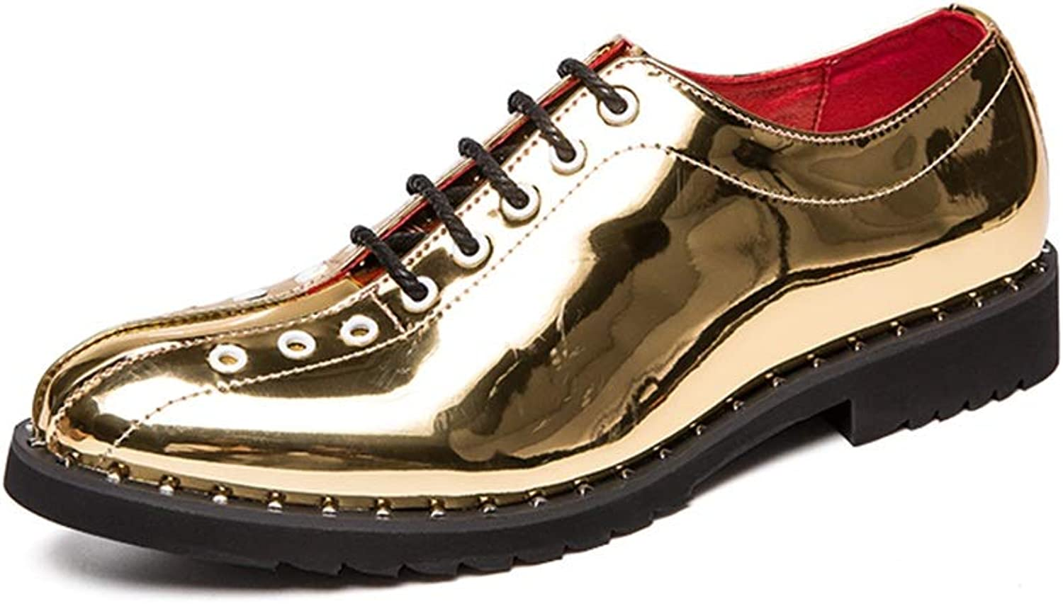 Ruanyi Fashion Oxford, Casual Comfortable Low-top Front Lace-up With Metal Patent Leather British Style Outdoor Leisure shoes For Male (color   gold, Size   8 UK)
