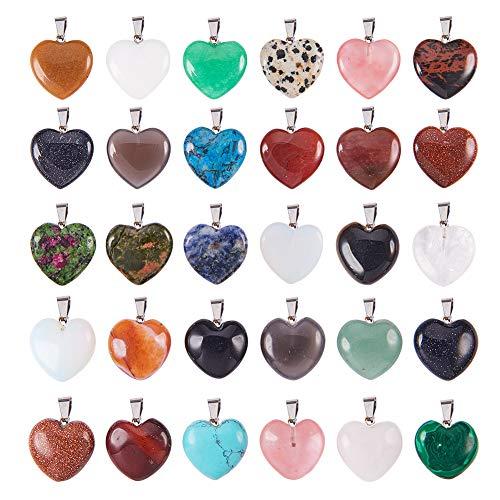 PandaHall Elite 30 Stück Herzform Stein Anhänger Chakra Perlen DIY Kristall Charms, 2 Verschiedene Größen, sortierte Farbe