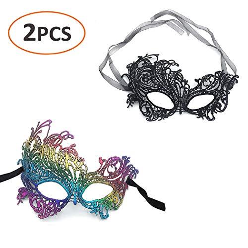 iMapo Masquerade Masks 2 Pack, Sexy Mardi Gras Lace Mask for Women Lady Girls, Halloween Christmas Cosplay Venetian Party Prom Ball Eye Masks - Rainbow & Black