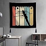Tapiz para colgar en la pared, tela para decoración del hogar, sala de estar, dormitorio, estilo vintage, silueta de remo