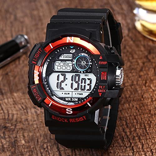 Reloj para Niño Reloj Electrónico Deportivo Multifuncional Resistente Al Agua Duradero Y Fuerte con Función Luminosa Rojo