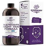 Elderberry Hill Organics Liquid Nighttime Multivitamin for Natural Sleep & Stress Relief with Trace Minerals, Vegan Vitamins. Magnesium, Calcium & MSM, Non-GMO, No Melatonin 32oz
