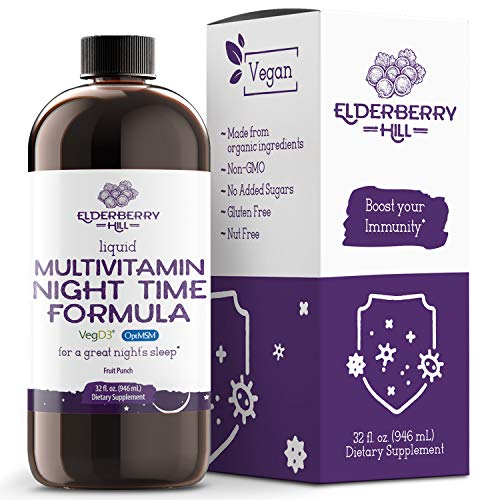 Elderberry Hill Organics Liquid Nighttime Multivitamin for Natural Sleep & Stress Relief with Trace...