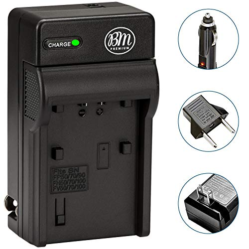 BM Premium NP-FH50 Battery Charger for Sony CyberShot DSC-HX1 DSC-HX100V DSC-HX200V HDR-TG5V DSLR A230 A290 A330 A380 A390 Digital Cameras (BC-TRV Replacement)