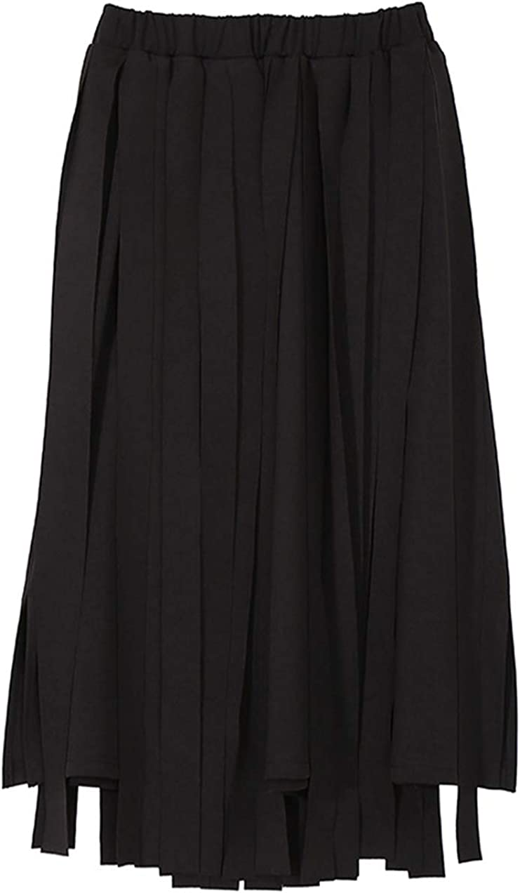 CHARTOU Women's Elastic High Waist Asymmetric Tassel Wrap Flared A Line Swing Skirt